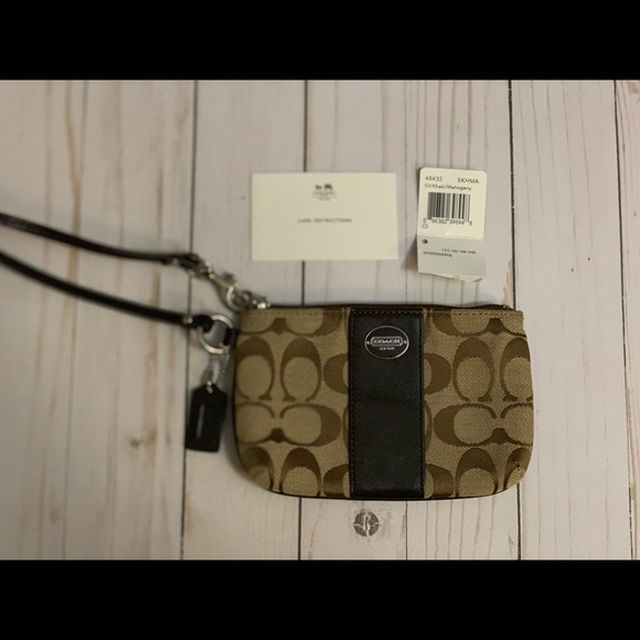 Coach Brown signature coach wristlet with gift box